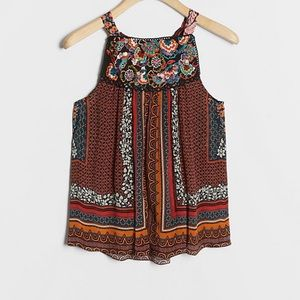 Anthropologie Fiona Embroidered Tank XS